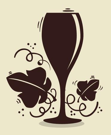 red wine cup label vector illustration design