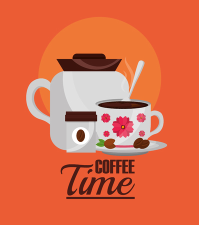 coffee time- coffee maker and decorative flower in cup vector illustration Illustration