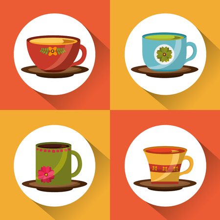 set of decorative flower in tea cups in dish vector illustration