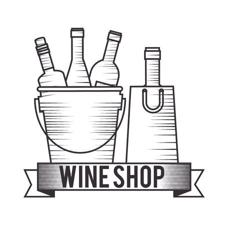 red wine bottles in pot vector illustration design