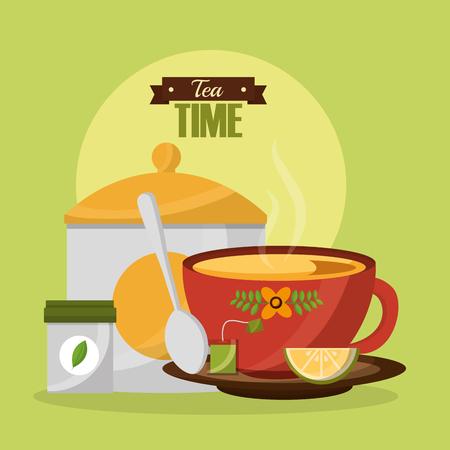 tea cup fresh lemon teabag spoon and sugar vector illustration Illustration