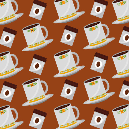 coffee cups and seeds products pattern design vector illustration