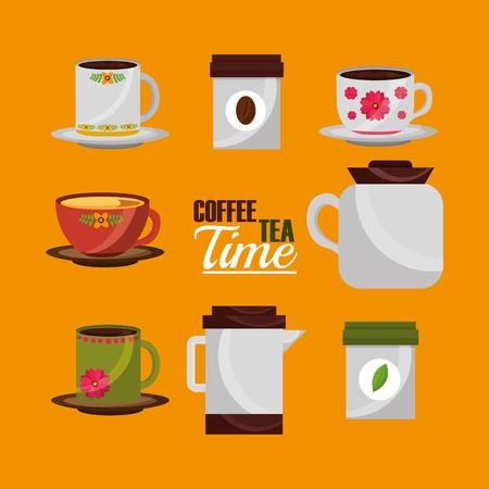 coffee and tea time cups pots flower decoration set vector illustration Çizim