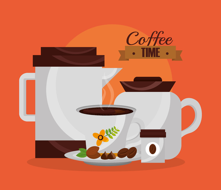 coffee makers and cup grains aroma vector illustration