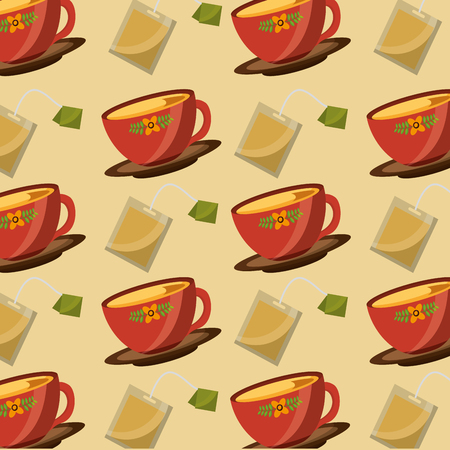 decorative flower in cups tea and teabag herbal time pattern vector illustration