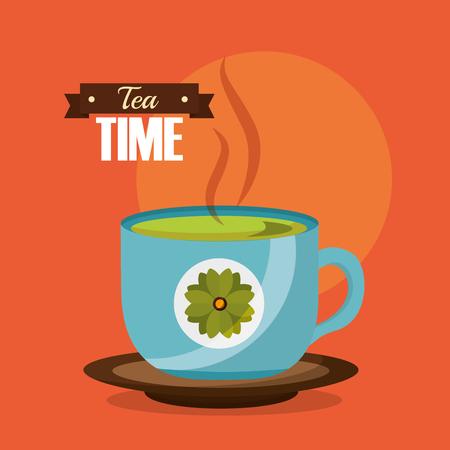 green tea cup in dish flower decoration vector illustration  イラスト・ベクター素材