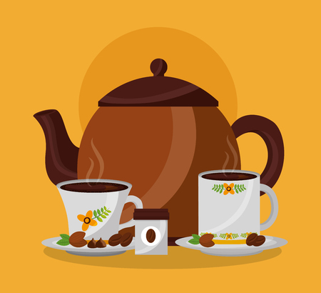 coffee maker and hot beverages cups on dishes grains vector illustration