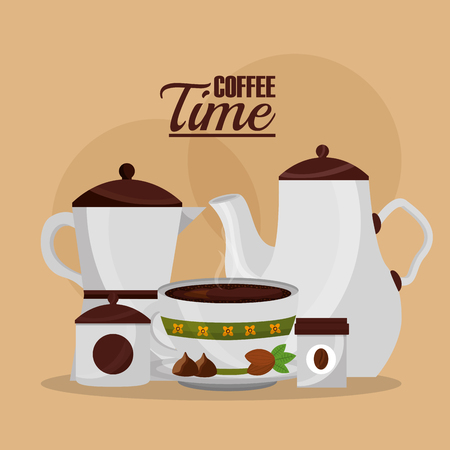 italian coffee maker and ceramic pot cup and grains seeds vector illustration