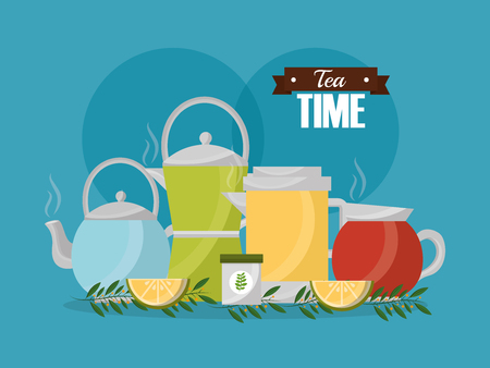 tea time - teapots and slices lemon herbal branches vector illustration