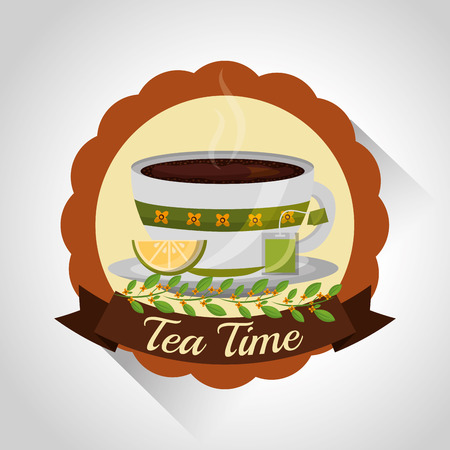 herbal tea teacup on dish and flower decoration stamp vector illustration Ilustrace
