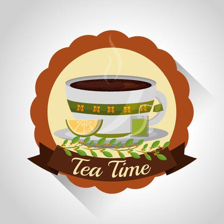 herbal tea teacup on dish and flower decoration stamp vector illustration Illustration