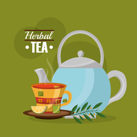 herbal tea teapot and teacup lemon and teabag leaves vector illustration