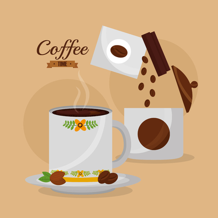 coffee time mug with hot beverage and seeds vector illustration