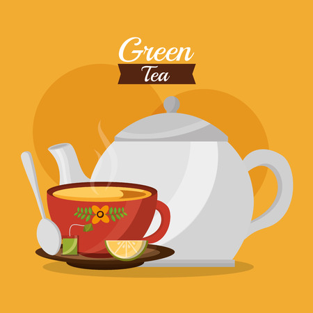 green tea teapot and cup with lemon spoon on dish vector illustration