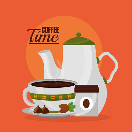 coffee maker and decorative flower in cup with cocoa seeds vector illustration