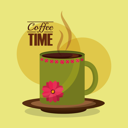 green cup flower decoration coffee time vector illustration