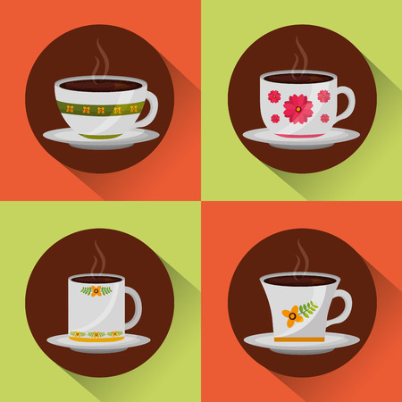 coffee time set of cups delicate flower ornament vector illustration