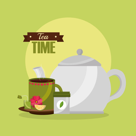 teapot and cup with lemon spoon and teabag vector illustration