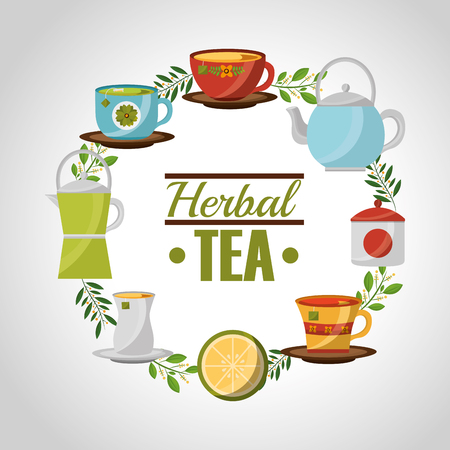 herbal tea teapot and teacups lemon and leaves vector illustration
