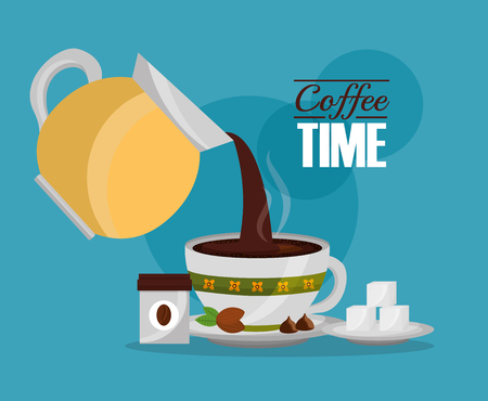 coffee maker pouring cup sugar cubes vector illustration