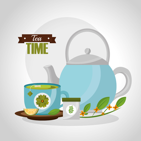 teapot and teacup lemon spoon herbal branch vector illustration Çizim