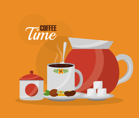 coffee maker and coffee cup sugar spoon and seeds vector illustration Ilustração