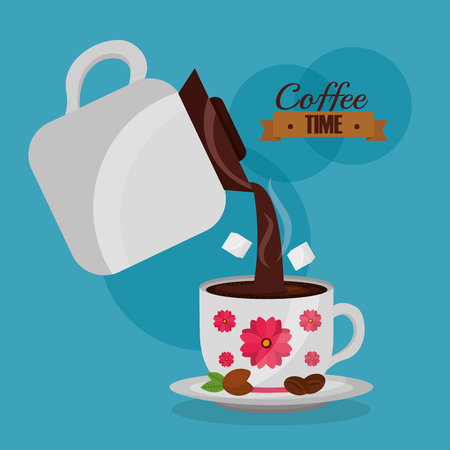 coffee maker pour coffee cup and sugar flower decoration vector illustration