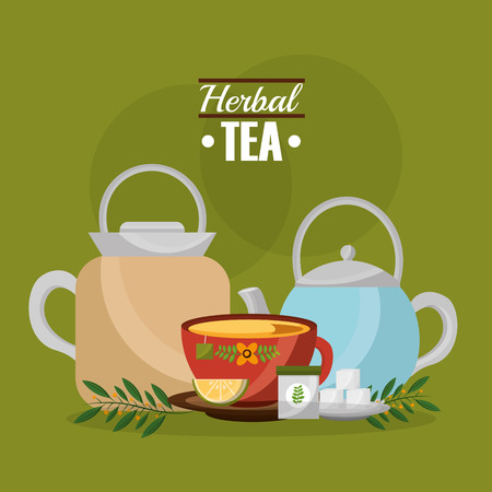 herbal tea teapot and cup sugar lemon and leaves vector illustration