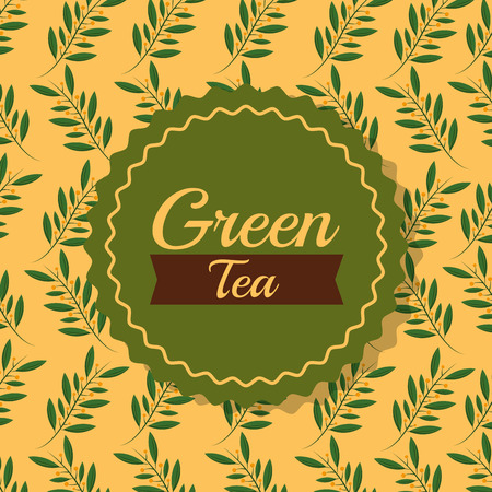 green tea leaves branch natural sitcker background vector illustration Ilustração