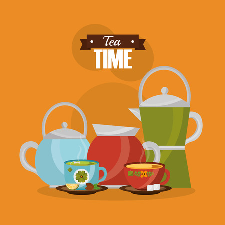 teapot and coffee maker with cups flower decoration vector illustration Ilustração