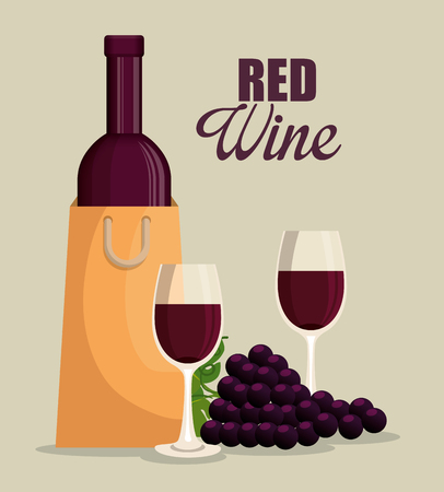 red wine bottle and cup label vector illustration design Stock Vector - 102937477