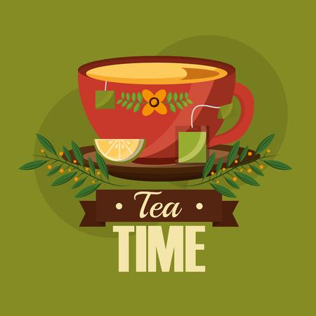 teacup with flower decoration lemon and teabag herbal vector illustration