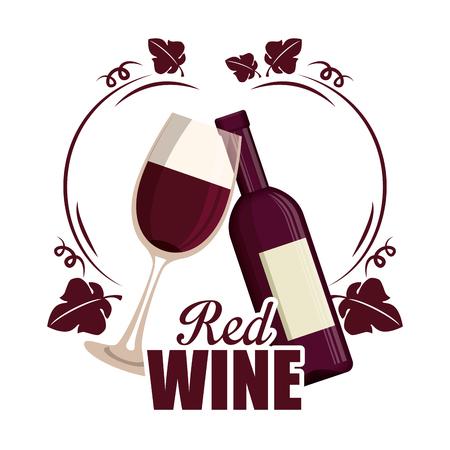 red wine bottle and cup label vector illustration design
