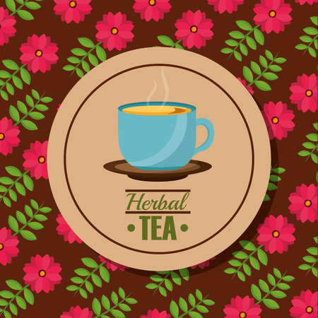 herbal tea teacup on dish and flower background vector illustration