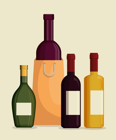 red wine bottles label vector illustration design