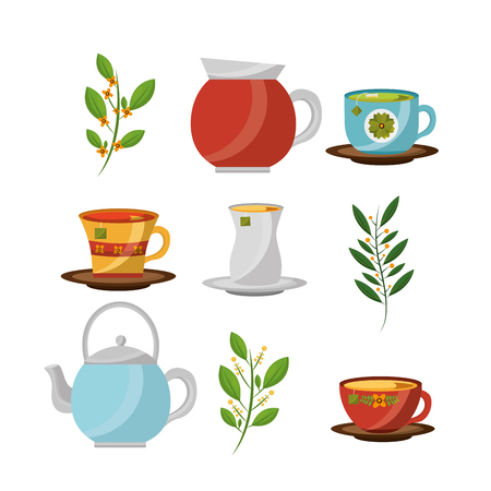 tea time - teapots and teacups flower leaves herbal collection vector illustration