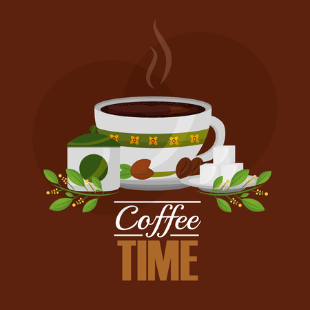 coffee cup and sugar cubes seeds grains and leaves vector illustration