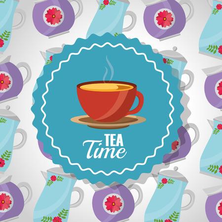 tea time - teacup on dish label and teapots background vector illustration Illustration