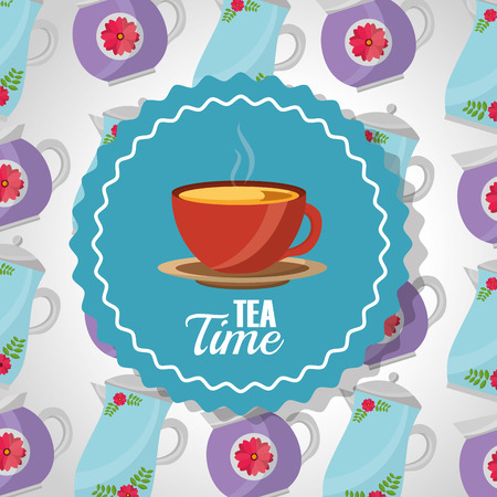tea time - teacup on dish label and teapots background vector illustration Stock Vector - 102938241