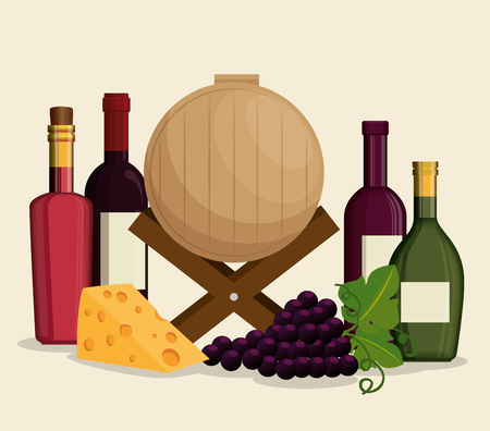 red wine set icons vector illustration design  イラスト・ベクター素材