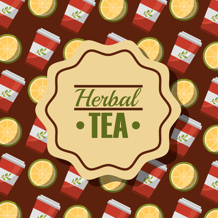 herbal tea disposable paper teacup and lemon background vector illustration