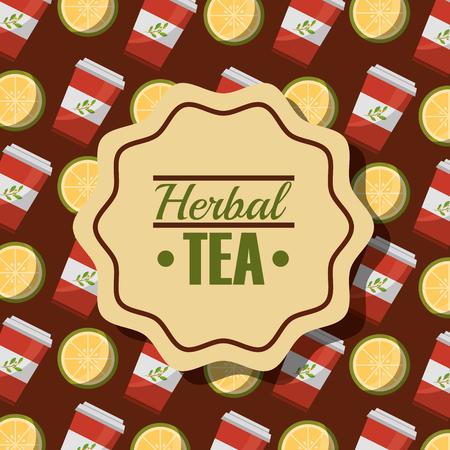 herbal tea disposable paper teacup and lemon background vector illustration