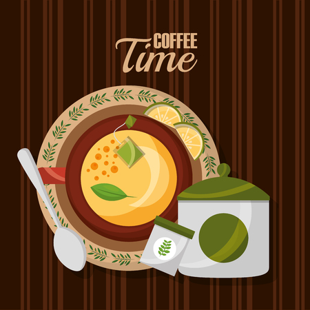top view teacup lemon spoon and sugar on wooden table vector illustration