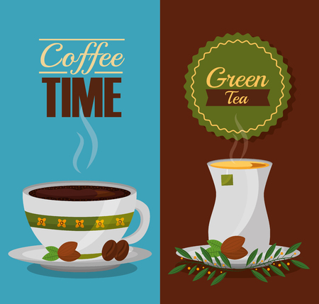 coffee and tea time cups and leaves design vector illustration