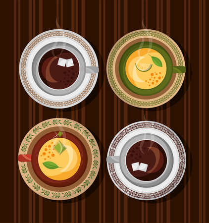 coffee and tea time set cups on wooden table vector illustration Stock Illustratie