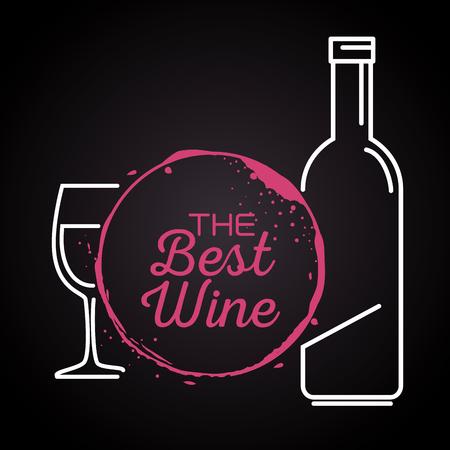 red wine bottle and cup label vector illustration design Foto de archivo - 102937520