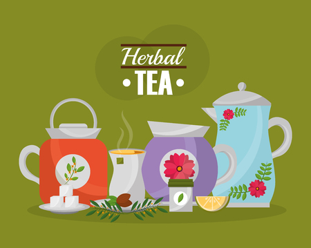 herbal tea teapots and cup lemon seeds and sugar collection vector illustration