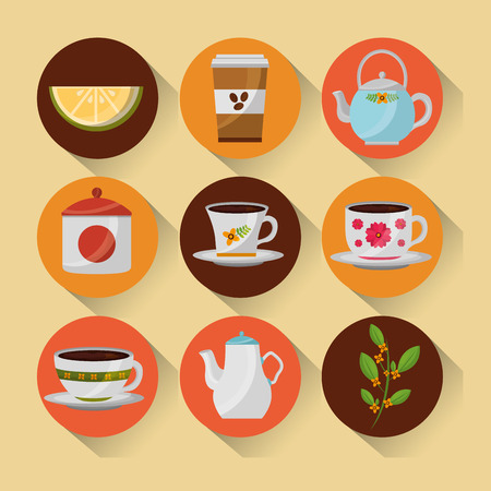 coffee and tea time set teapot coffee maker cups vector illustration