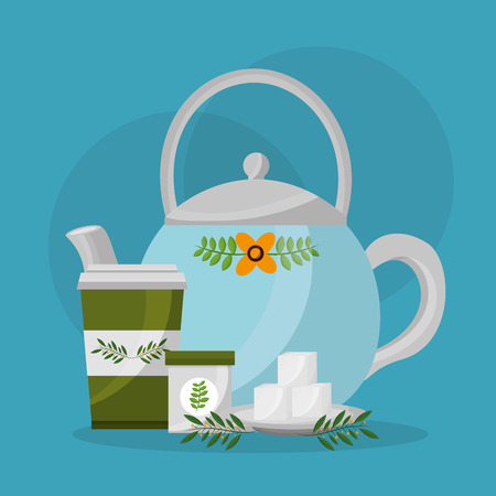 blue floral teapot and paper cup sugar cubes leaves vector illustration