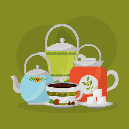 collection teapots and coffee maker cup sugar vector illustration
